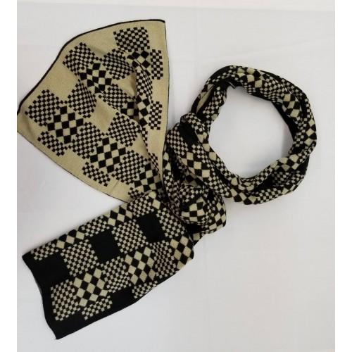 Wool Scarf - large rectangle pattern in Beige