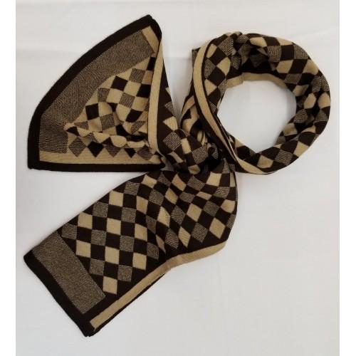 Wool Scarf - diamond pattern in Khaki